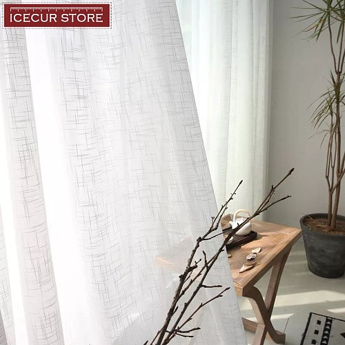 ICECUR Soft Cotton Linen Voile Tulle Curtains for Bedroom Living Room Sheer Fabrics Window Tulle Drapes Home Decoration