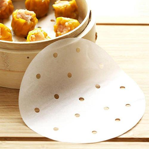 Baking Paper Air Fryer Liners Cookware 100 Pcs Disposable Paper Bamboo Steaming Papers Non-Stick 3-12Inch Liners Paper Stea T4T2
