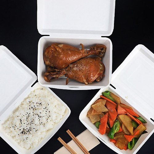 Lunch Box Disposable Box Packing Box No-Clean Case Food Tray Package Container Packaging Box Convenient Ware Takeaway Case 50pcs