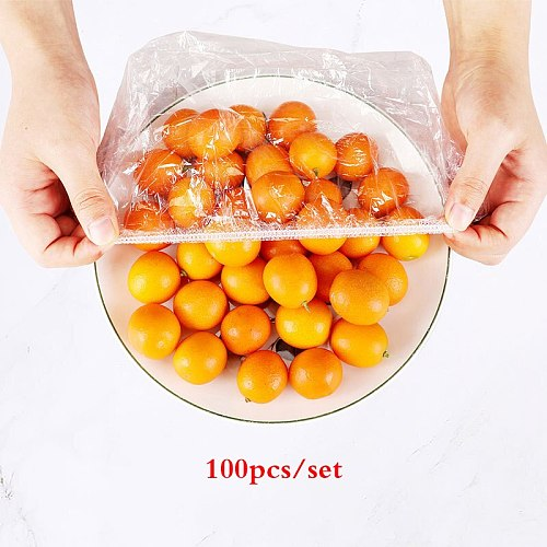 Disposable Food Cover 100Pcs plastic wrap Elastic Food Lids For Fruit Bowls Cups Food Covers Caps Keeping Cookware Accessories
