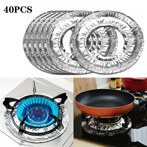 40pcs Thickened Aluminum Foil Circular Gas Burner Covers Disposable Stove Covers Cleaning Pad