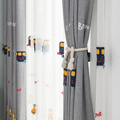 Cartoon Curtains for Living Room Bedroom Children's Bedroom Curtains Boys and Girls Room Embroidered Curtains Finished Custom