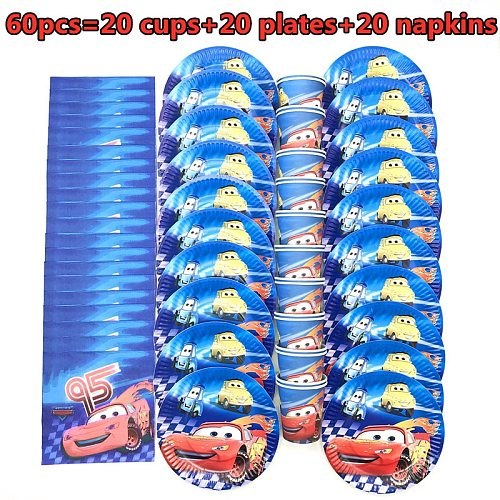 Disney Lightning McQueen Cars Birthday Party decorations kids Cups Plates Napkins Baby Shower Disposable Tableware Set Supplies