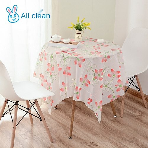 The new antiskid thick cloth waterproof and oil round table cloth printing and heat insulation eat mat hotel dining room