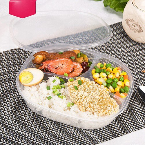 1000ml Disposable Lunch Box Takeaway Fast Food Pack Boxes 3 Compartment Meal Prep Plastic Food Container