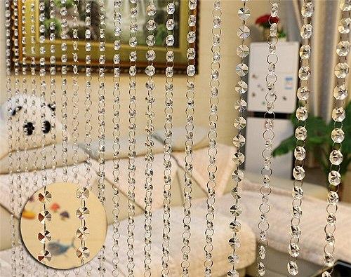 1M Luxury Crystal Glass Bead Curtain Flash Line Shiny Tassel String Door Curtain Window Bedroom Divider Home Decoration curtains
