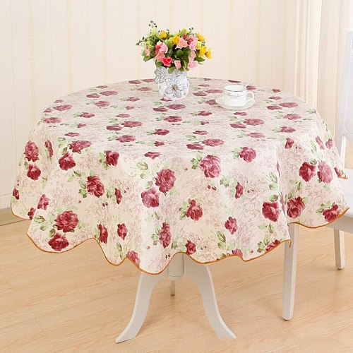 Plastic Tablecloth Print Flower Waterproof Wedding Birthday Party Table Cover PVC Home Kitchen Dining Tablecloth Round Table