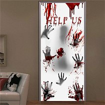 New Haunted House Bloody Eerie Wall Door Halloween Party Ghost Glass Sticker for Home Haunted House Decor Window Sticker