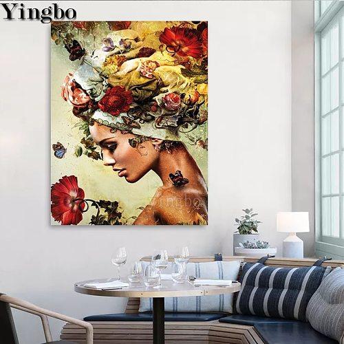 5D Diamond Painting Fantasy Woman Flower Embroidery DIY Gift Cross Stitch Kits Rhinestones Full Square Drill New Home Decor 2021