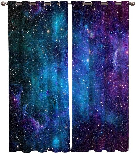 Curtains Galaxy Star Universe Starry Sky Curtains Bedroom Living Room Kitchen Decoration Curtains