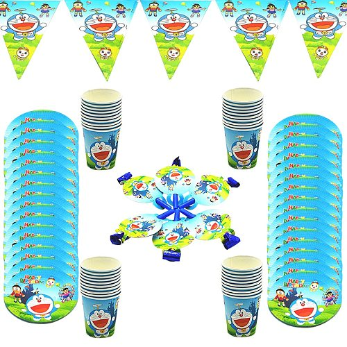 10pcs/lot cartoon disposable tablewares cup plate flag table cover doraemon themed event party supplies for children girls boys