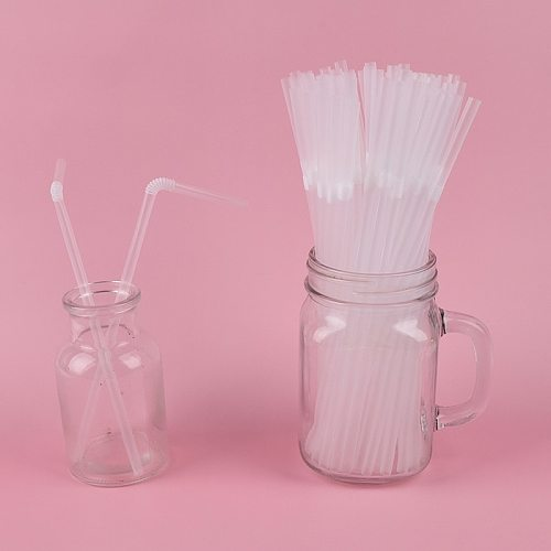100Pcs/Pack plastic Flexible Straws For Birthday Wedding  Party Cocktail Straws