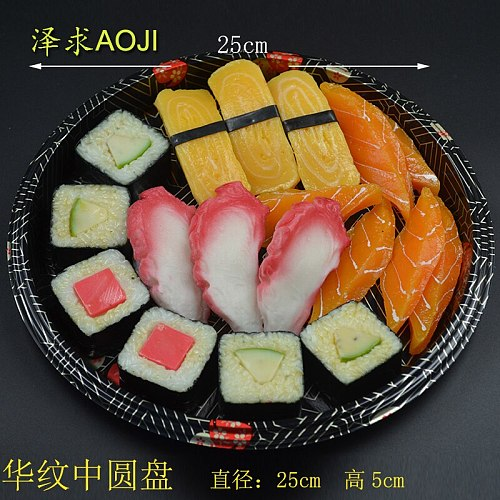 20sets sushi box packaging disposable trays Five Grid round plate food container with lid