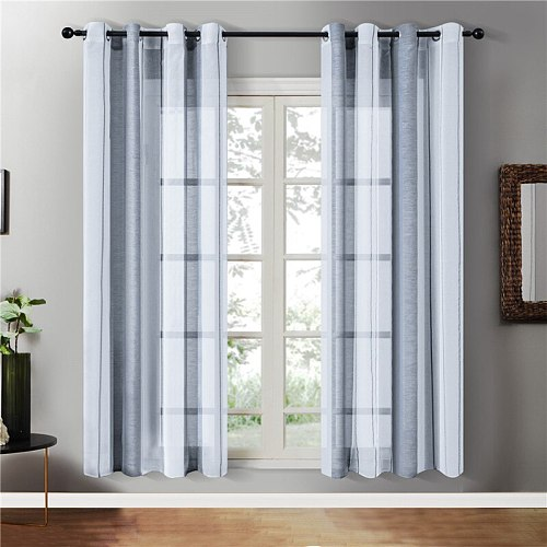 Gray Sheer Tulle Curtains Stripe Voile Curtains For Living Room Bedroom Window Modern Cafe Curtains Blinds Drapes Topfinel
