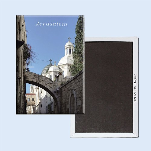 Old Jerusalem Via Dolorosa churches and arches 22348 Travel souvenirs Fridge magnets. Souvenirs around the world.gift for friend