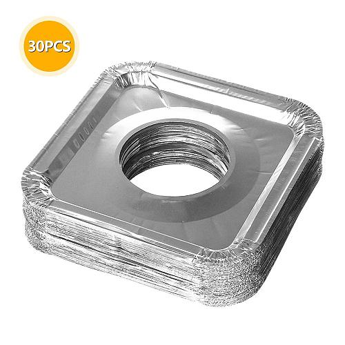 30pcs Kitchen Oil Proof Stove Liners Disposable Aluminum Foil Stove Burner Covers Gas Oven Pad For Cooking Kitchen Accessories