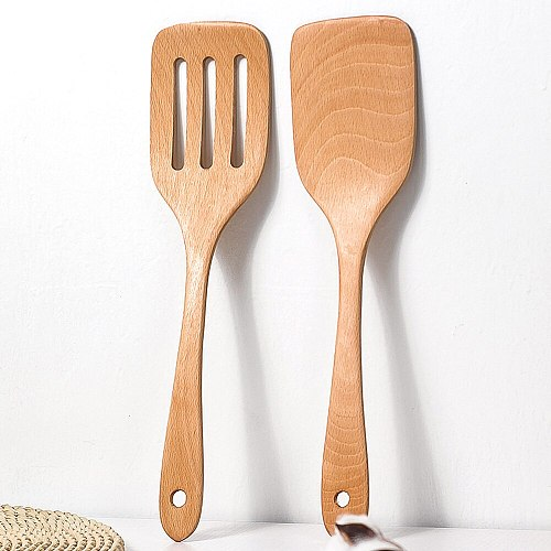 Wood Spatula Kitchen Accessories Non-Stick Cookware Cooking Tools Gift Wooden Shovel