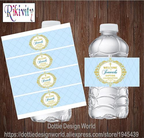20 Custom Light Blue Baptism My First Holy Communion Water Bottle Wine Labels Candy Bar Wrapper Stickers Baby Shower Decoration