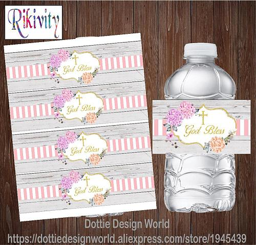 Custom Flower Wood God Bless Baptism First Holy Communion Water Bottle Wine Labels Candy Bar Wrapper Stickers Party Decoration
