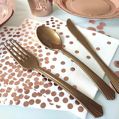 Disposable knife and fork spoon party tableware birthday party Wedding  Rose Gold Plastic Luxury Dinnerware for Grand Event