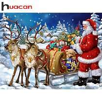 Huacan Full Drill Square Diamond Painting Santa Claus Embroidery Cross Stitch Rhinestone Christmas Decorations For Home