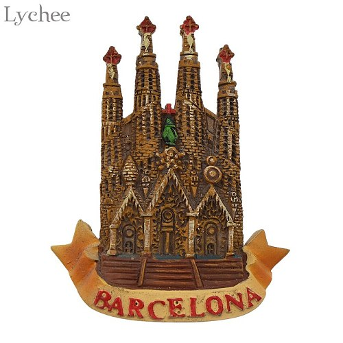 Lychee Life Barcelona Church Pattern Fridge Magnets Souvenirs Refrigerator Stickers Kids Gifts Party Favor Home Decoration