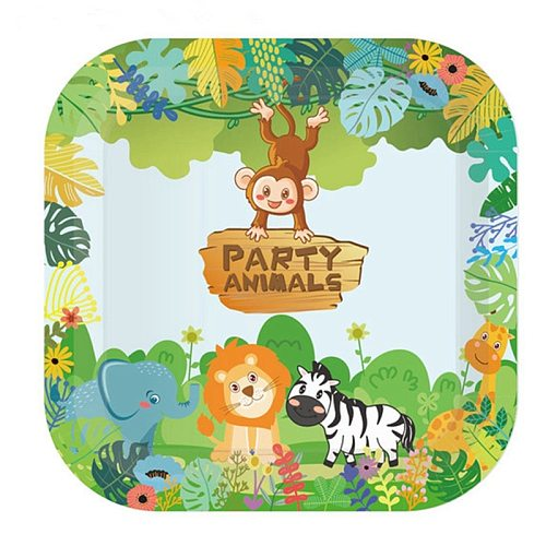 132*220cm Cartoon Jungle Animal Disposable Tablecloths for Kid Birthday Party Decoration Table Cover Tableware Party Supplies