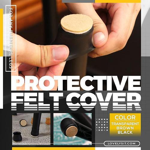 4Pcs Upgraded Furniture Silicone Protection Cover With Felt Pad Non-slip Table Chair Leg Caps Floor Protector Table Feet Covers