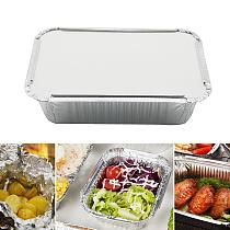 50Pcs Disposable Rectangle Aluminum Foil Food Tray Baking Pan Container with Lid