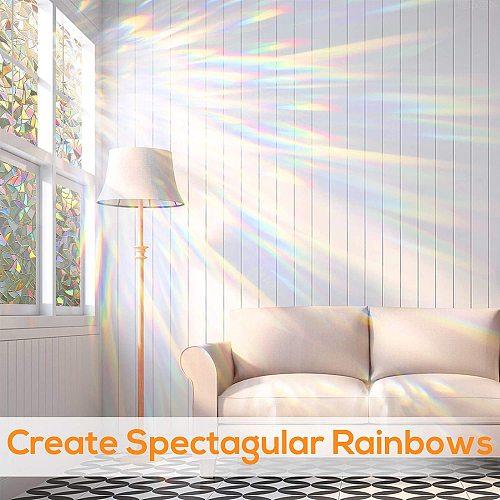 LUCKYYJ 3D Window Film Self Adhesive Static Privacy Clings Decorative Glass Window Stickers, Anti-UV, DIY Decor Glass stickers
