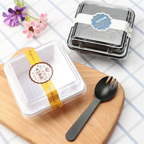 50pcWhite black plastic food containers disposable fruit dessert cream bread takeaway packaging box with lid kitchen accessories