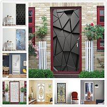 Vinyl 3D Door Sticker Wallpaper Black Geometric Mural Living Room Bedroom Home Design Door Decoration Decals Poster deursticker