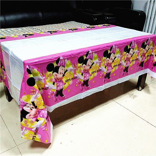 108*180cm Red Pink Minnie Mouse Tablecloth kids girls birthday disposable decoration table cloth cover Baby Showe party supplies