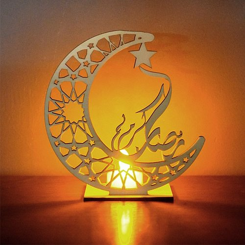 Ramadan Eid Mubarak Decorations For Home Moon Led Candles Light Wooden Plaque Hanging Decors Islam Muslim Event Party Supplies