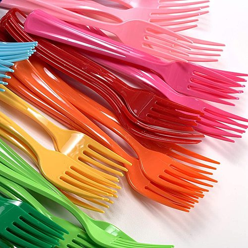 Eco-Friendly Solid Color Plastic Cutlery Pink Blue Yellow Disposable Knives Spoons Forks Wedding Birthday Party Picnic Supplies