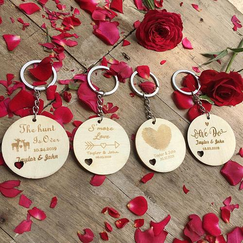 10pcs Personalized Wood Keychain Rustic Wedding Gifts Custom Engraved Wooden Key chain Wedding Party Favors Souvenirs for guests