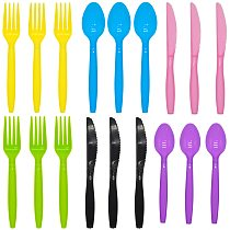 Plastic Solid Color Knives Forks Spoons Set Yellow Blue Pink Black Purple Green Disposable Tableware for Bitrhday Party Supplies