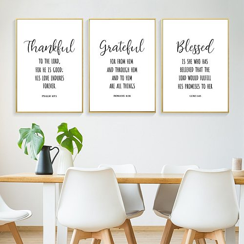 prayer psalm wall art canvas painting thankful God quote posters and prints pictures Christian living room home decor HD2754