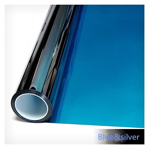 50cm*600cm Blue&Silver Mirrored Window Film House Glass Sticker Solar Tint Reflective Like A Mirror home office decor