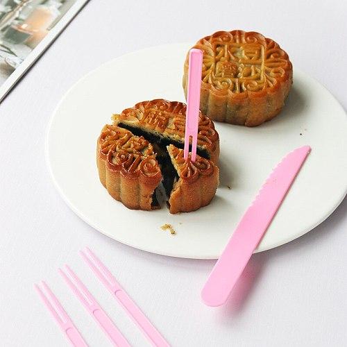 Disposable Color Cake Knife and Fork Mooncake Knife and Fork Set Food Grade Fruit Fork 1 knife and 4 forks