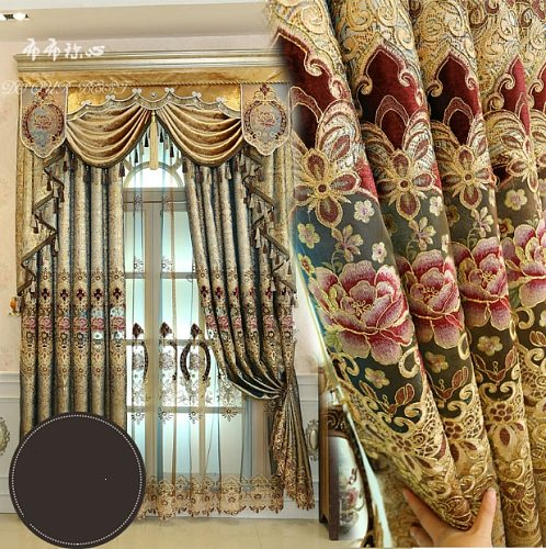 Polyester Curtains for Living Room Dining Bedroom Valance fresh  flower  Style Thickening Shading Modern Window home Villa