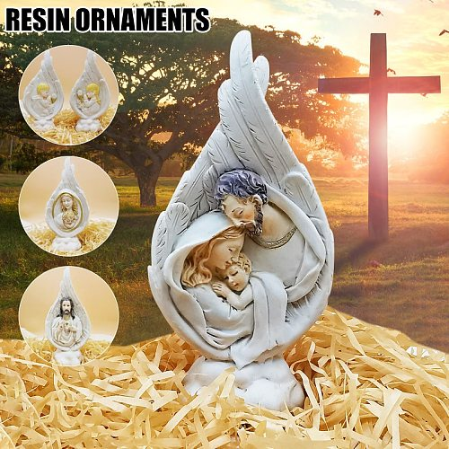 Holy Family Statue Collectible Figurines Handmade Resin Angel Wings Ornament Religious Catholic Gifts For Men Women Home Decor