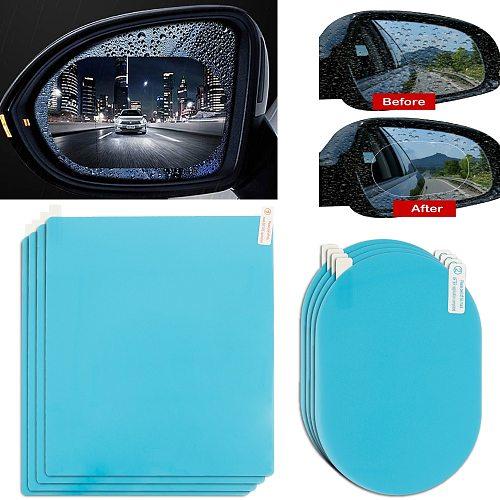 8pcs Car Rearview Mirror Rain Film Waterproof Film Rearview Mirror Glass Film Rain Shield Side Window Anti Film Rain-Proof