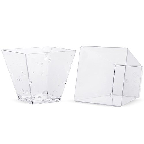 50pcs Disposable Plastic Cups Clear Portion Transparent Trapezoidal Food Container for Jelly Yogurt Mousses Dessert Baking Cups