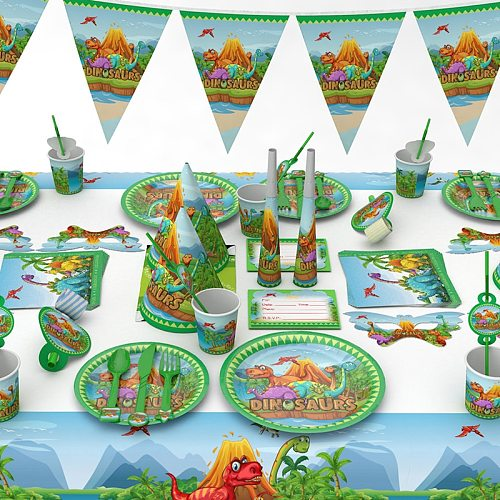 New Green Dinosaur Theme Party Disposable Tableware Set Plate Napkin Spoon Tablecloth Wedding Birthday Party Decoration Supplies