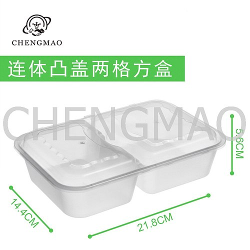 Conjoined Box 1000ML Two/ Three/ Four Spaces Black or Transparent Plastic Fast Food Disposable Food Containers Bento Lunch Box