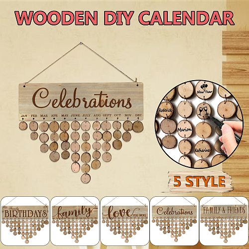 Wooden Ornaments Family Holiday Plaque Diy Wall Calendar Wooden Birthday Reminder Calendar Home Decoration Valentine's Decor #10