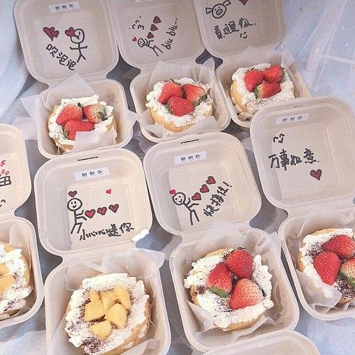 20/50pcs Disposable Friendly Bento Box Meal Storage Food Prep Lunch Box Fruit Salad Hamburger Cake Packaging Box Writable