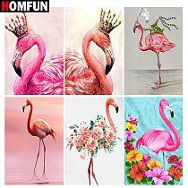 HOMFUN Full Square/Round Drill 5D DIY Diamond Painting  Animal flamingo  3D Embroidery Cross Stitch 5D Home Decor Gift