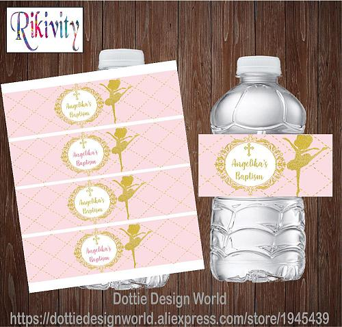 Custom Pink Gold Ballet Girl Baptism First Holy Communion Water Bottle Wine Labels Candy Bar Wrapper Stickers Party Decoration